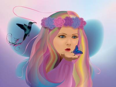 Фото Девочка с веночком на голове с бабочкой на фоне птицы / by lilok-lilok/