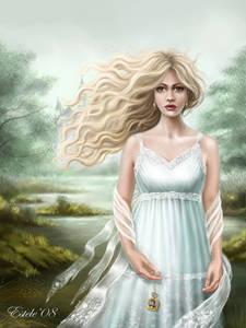 Фото Девушка со светлыми волосами со слезами на глазах на фоне деревьев и реки / by Lanfirka/