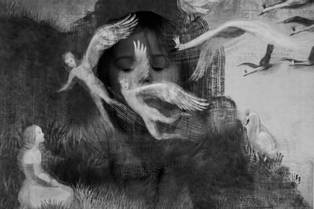 Фото Сказочная работа - на фоне девочки парящие ангелы и лебеди, фотограф Ольга Свистунова