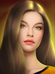 Фото Красивая девушка с длинными волосами, желтыми глазами и красивыми яркими губами / by gothic-icecream/