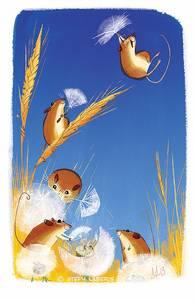 Фото Мышки полевки взбираются на колосок и спускаются оттуда на семенах одуванчика, как на парашюте, by steph laberis