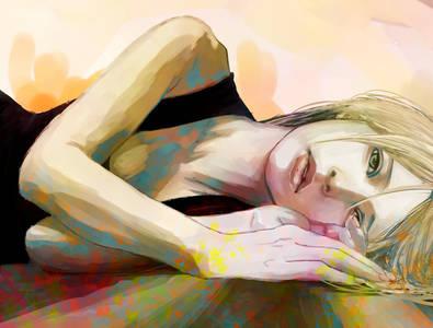Фото Светловолосая девушка с зелеными глазами смотрит на зрителя / by zerochan