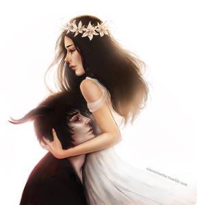 Фото Девушка в белом платье обнимает парня-демона, by Sapphire Antoinette