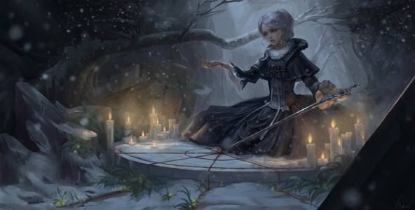 Фото Девушка с мечом сидит перед горящим свечами, ву haoci huang