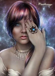 Фото Грустная девушка с голубыми глазами с украшением на шее и кольцом на пальце / by Irina-Ponochevnaya/