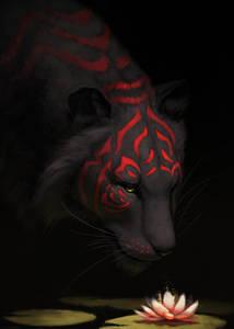 Фото Тигр, морда и шерсть которого разрисованы красными полосами, смотрит на лотос, by JadeMere