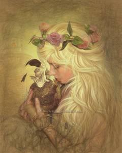 Фото Девушка с венком из роз на голове держит в руках яйцо, из которого вылупляется дракончик, by motherearth01