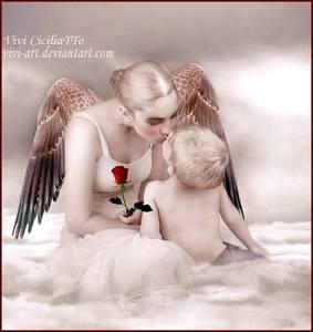 Фото Ангел с малышом сидит на облаках с красной розой в руке / by vivi-art/