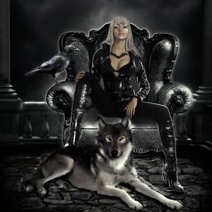 Фото Гламурная девушка в черном наряде сидит в кресле, рядом лежит волк / by ArtbyValerie/