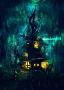 Фото Ведьма подходит к своему дому в лесу, на крыльце ее встречает маленький демон, by shoutarotttt