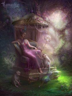 Фото Девушка сидит в райском саду с украшениями на фоне обезьяны и павлин / by cornacchia-art/