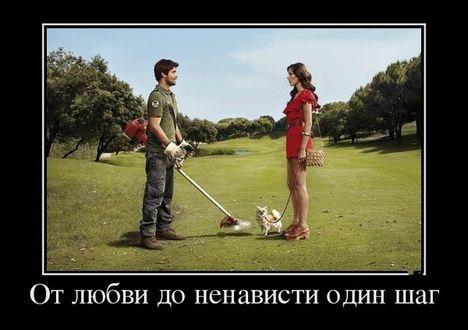 Фото Девушка с маленькой собачкой разговаривает с газонокосильщиком, который держит свое орудие производство в опасной близости от животного (От любви до ненависти один шаг)