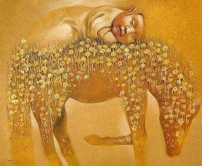 Фото Мальчик спит на лошади цветовой масти, литовский художник Лаймонас Смергелис / Laimonas Еmergelis/