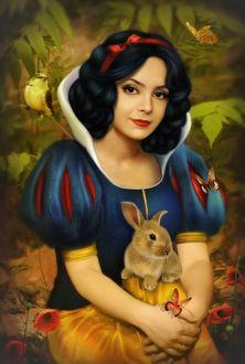 Фото Темноволосая девушка с красивыми глазами с бантом в волосах на фоне бабочек, птички, цветов и кролика / by DonatellaDrago/