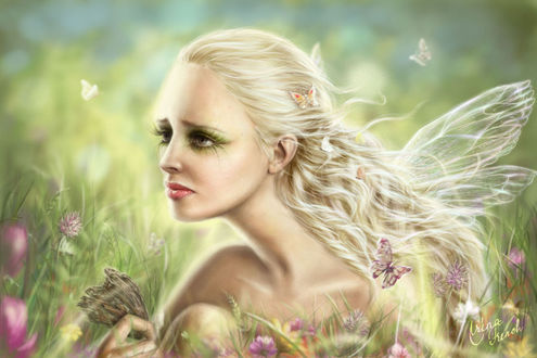 Фото Девушка-эльф с грустным выражением на лице на фоне бабочек, и цветов / by Ameryn/