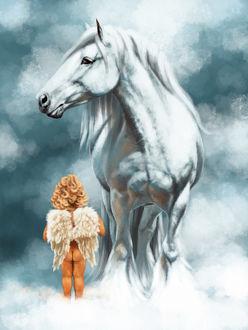 Фото Ангелок стоит на облаках возле белой лошади, by Animal75Artist