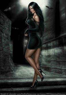Фото Гламурная девушка в черном на фоне летучих мышей с ключом в руке / by MoonZaphire/