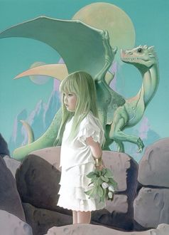 Фото Девочка с цветами в руках стоит перед дракончиком, ву Junichi Murayama