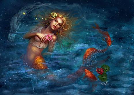 Фото Грустная русалочка со слезами на глазах на фоне рыбок и цветка / by ElizavetaS/
