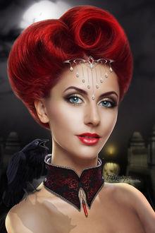 Фото Рыжая голубоглазая девушка с вороной на плече на фоне ночного города / by TL-Designz/
