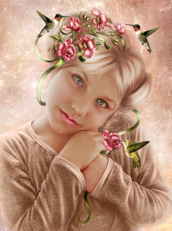 Фото Голубоглазая девочка с цветами в волосах на фоне птичек / by Irina-Ponochevnaya/