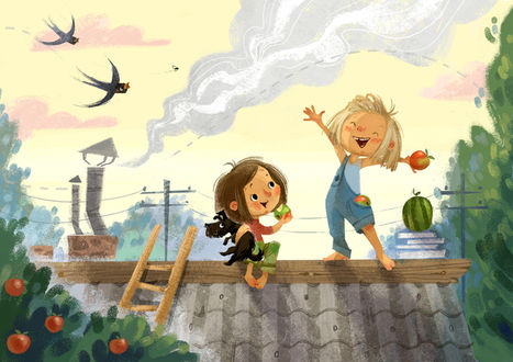 Фото Мальчик и девочка на крыше едят фрукты, мимо летят ласточки, художник Анна Чернышова