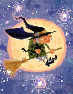 Фото Старенькая ведьма летит на метле на фоне полной луны, художник Анна Чернышова