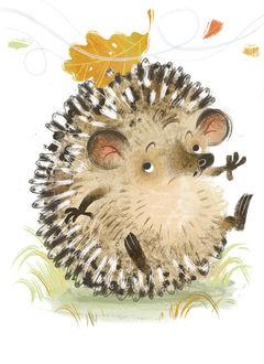 Фото Маленький смешной ежик смотрит на преклеевшийся к своим иголкам осенний листок, художник Анна Чернышова