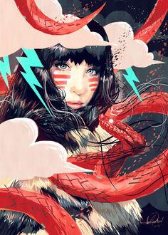 Фото Темноволосая девушка с голубыми глазами на которую смотрит красная змея / by javierGpacheco