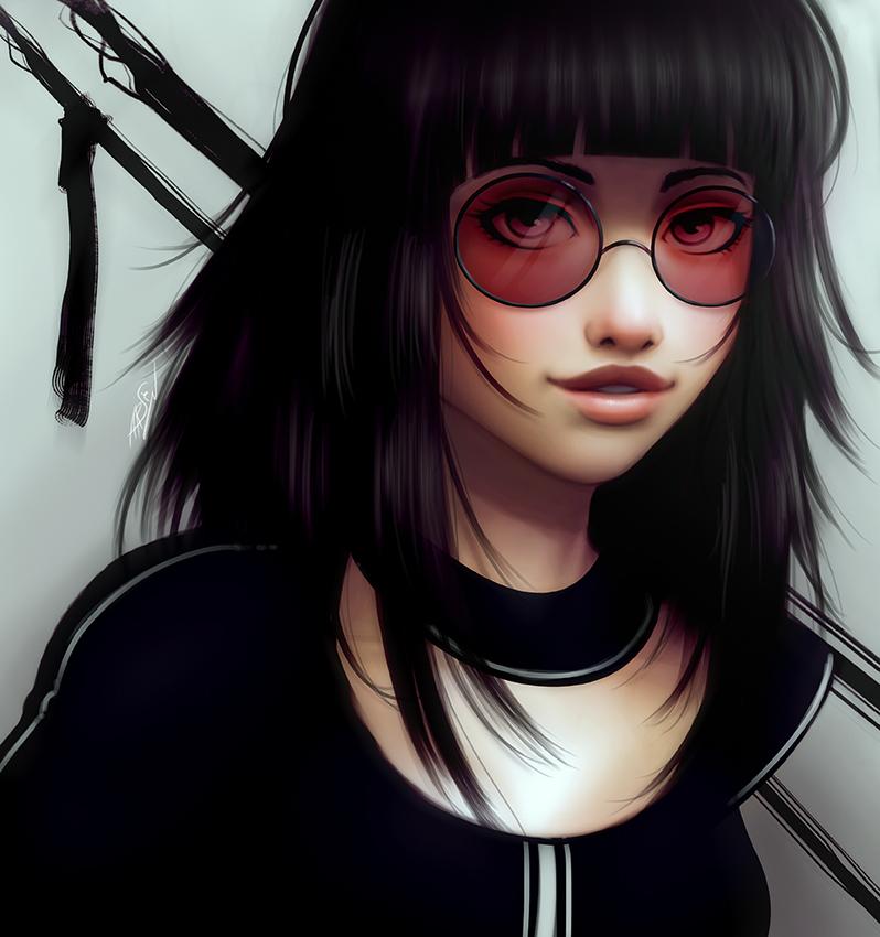 Арт картинка девушка в очках