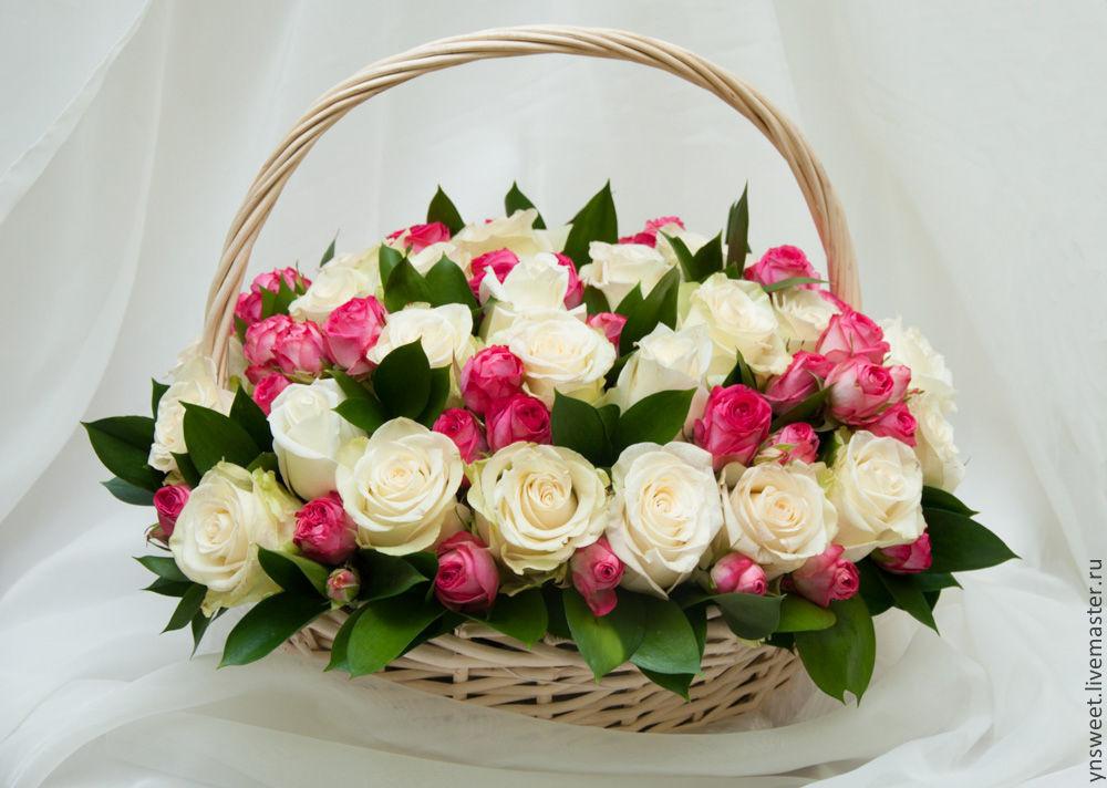 Цветы стену, цветы розы в корзинах фото