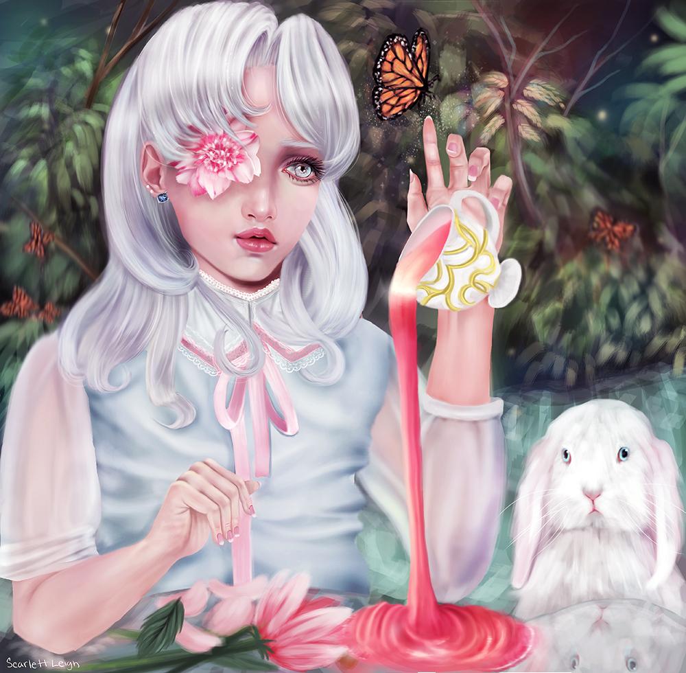 Фото Девушка с цветком в глазу сидит возле белого кролика и смотрит на кружку из которой произвольно выливается горячий напиток, by Scarlettleigh
