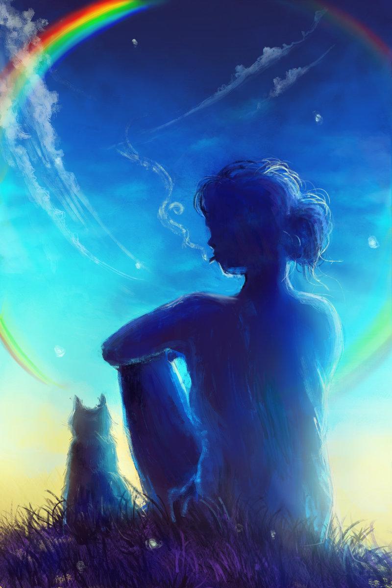 для лицевой человек раскрашивает радугу на небе картинка думали, что веганство