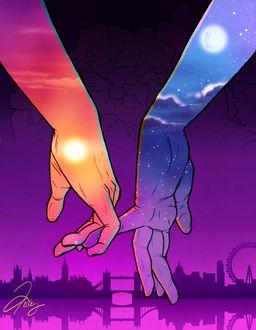 Фото Руки, олицетворяющие день и ночь
