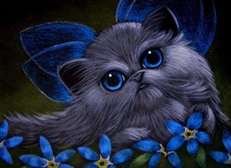 Фото Голубоглазая персидская кошка с синими крылышками, возле синих цветов незабудок, by AL Bihrle
