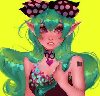 Фото Девушка-эльф с зелеными волосами, by BlouBell