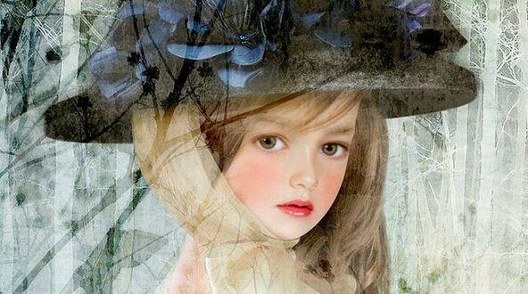 Фото Молодая девушка в большой шляпе, художница Йокота Михару / Yokota Miharu/