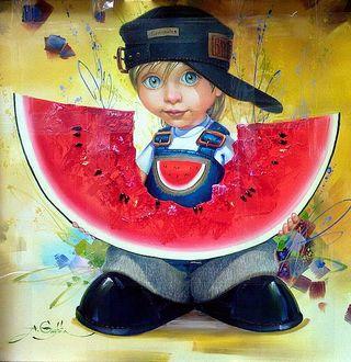 Фото Прикольный мальчик держит в руках огромный, выгрызенный посредине ломоть красного арбуза, Gaytota Alexander