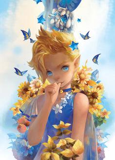 Фото Голубоглазая эльфийка в окружении бабочек