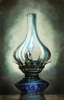 Фото Внутри керосиновой лампы сидит мальчик, с горящими синим огнем волосами