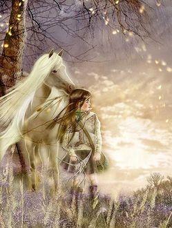 Фото Девочка с белой лошадью стоят под деревом и смотрят вдаль, японская художница Йокота Михару / Yokota Miharu/