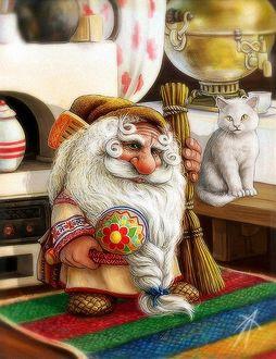 Фото Дедушка Домовой с веником, белый кот на лавке, самовар на столе, иллюстрация Владимира Аржевитина