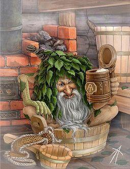 Фото Дедушка Банник сидит в ушате с водой и держит в руке кружку с квасом, иллюстрация Владимира Аржевитина