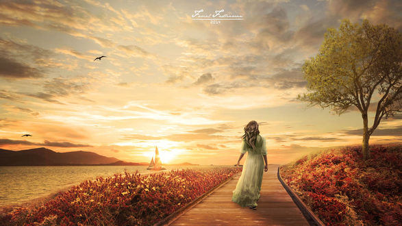Фото Девушка идет по дорожке, вдоль водоема, где виден парусник на фоне заката, by fadlie666
