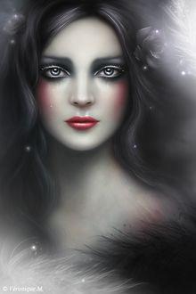 Фото Грустная красивая девушка со слезами на глазах, с цветами в волосах, by VeroniqueThomas