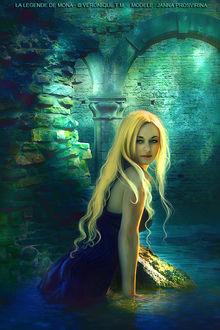 Фото Белокурая девушка с голубыми глазами, в синем платье, стоит в воде, под сводами старинного замка, by VeroniqueThomas