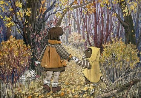 Фото Девочка и котенок идут по осеннему лесу
