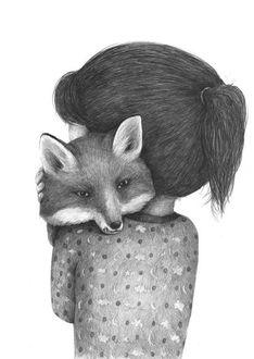 Фото Девочка обнимает лису, by Stefan Zsaitsits