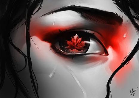 Фото Осенний лист в глазе девушки, by BoFeng