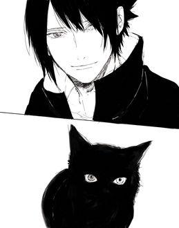 Фото Саске Учиха / Sasuke Uchiha из аниме Наруто / Naruto и черный кот